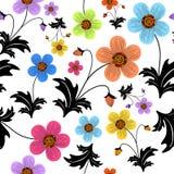 花卉模式无缝的白色 库存照片
