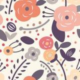 花卉模式无缝的葡萄酒 免版税图库摄影