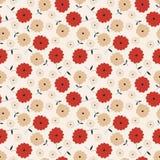 花卉模式红色无缝的灰褐色 免版税图库摄影