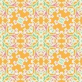 花卉橙色无缝的装饰品 百合的样式织品墙纸的 向量 库存例证