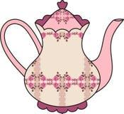 花卉玫瑰茶壶(茶的时刻)。破旧的别致。 免版税库存照片