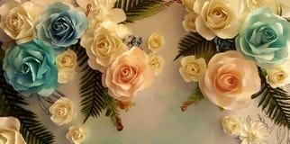 花卉纸背景,花origami装饰, Origami开花 库存照片