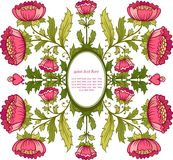 花卉背景。与花框架的邀请卡片。 免版税库存照片