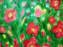 花卉背景丙烯酸漆 图库摄影