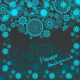花卉背景在蓝色树荫下与空间的文本的 免版税库存照片