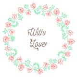 花卉花圈手拉的颜色 免版税库存图片