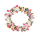 花卉花圈框架-桃红色花、boho羽毛、心脏和葡萄酒钥匙 水彩为情人节,婚姻 库存照片