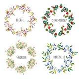 花卉花圈设置了用不同的花和莓果为卡片、婚礼或者假日 也corel凹道例证向量 向量例证