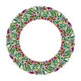 花卉花圈,反弹手拉的框架 自然启发了有红色花的诗歌选 库存例证