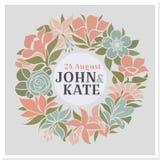 花卉花圈-向量婚礼设计 免版税图库摄影