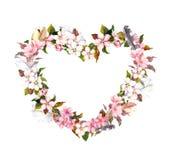 花卉花圈-心脏形状 桃红色花和羽毛 水彩为情人节,婚姻在葡萄酒boho样式 免版税图库摄影