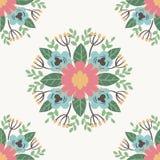 花卉花纹花样装饰品传染媒介例证手拉的无缝的样式背景 向量例证