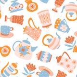 花卉茶传染媒介无缝的样式 逗人喜爱的织品设计 在白色和花隔绝的茶壶、杯子 免版税库存图片