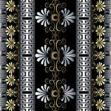花卉葡萄酒3d希腊传染媒介无缝的边界样式 免版税库存照片