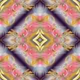 花卉葡萄酒3d无缝的样式 传染媒介抽象现代backg 图库摄影