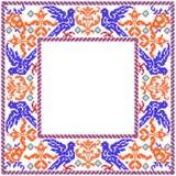 花卉蓝色鸟照片框架 库存图片