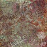 花卉蜡染布设计背景 免版税图库摄影