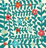 花卉螺旋与花的样式无缝的夏天背景 免版税图库摄影