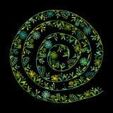 花卉螺旋背景,您的设计的剪影 库存图片