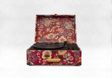 花卉被仿造的转盘便携式的手提箱电唱机与 免版税库存照片