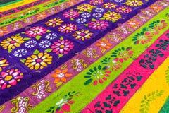 花卉被借的地毯,安提瓜岛,危地马拉特写镜头  免版税库存照片