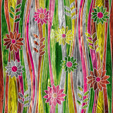 花卉装饰样式-波浪装饰-无缝的背景 免版税库存照片