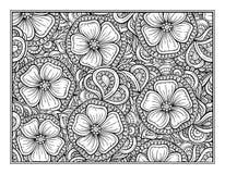 花卉装饰装饰着色页 免版税图库摄影