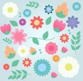 花卉装饰要素许多设置了 库存图片