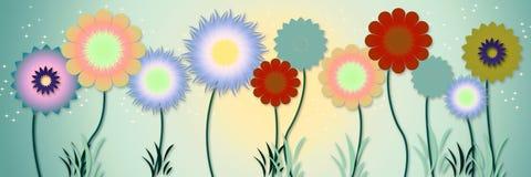 花卉边界横幅 库存图片