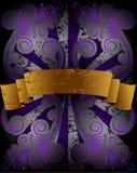 花卉金模式丝带 免版税库存图片