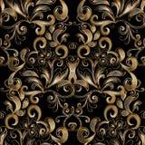 花卉金模式无缝的葡萄酒 传染媒介黑背景wi 库存照片