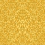 花卉金黄豪华无缝的墙纸 免版税库存图片