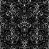 花卉锦缎无缝的样式 花卉葡萄酒黑色白色backg 免版税库存照片