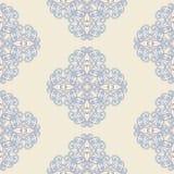 花卉锦缎无缝的样式 葡萄酒无缝的蓝色色的巴洛克式的墙纸 库存照片