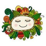 花卉面孔,您的设计的剪影 库存图片