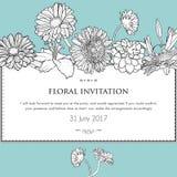 花卉水平的邀请卡片 向量 库存照片
