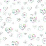 花卉水彩圈子和心脏的无缝的样式 免版税库存图片