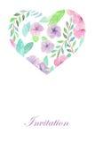 花卉水彩心脏,庆祝的邀请,婚姻 库存图片