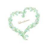 花卉水彩心脏,框架 图库摄影