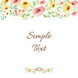花卉水彩手拉的框架 免版税库存图片
