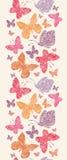 花卉蝴蝶垂直的无缝的样式 库存照片
