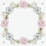 花卉刻记样式的框架和蜂 免版税库存图片