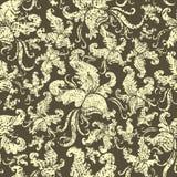 花卉grunge兰花模式无缝的葡萄酒 免版税库存照片