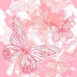 花卉grunge模式粉红色无缝的向量婚礼 免版税图库摄影