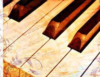 花卉grunge锁上时髦的钢琴 免版税库存照片