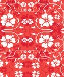 花卉hawiian模式红色无缝的藤 免版税库存图片