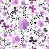 花卉lilas模式无缝的白色 免版税库存照片