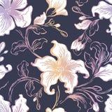 花卉seFloral无缝的样式 抽象华丽花葡萄酒纹理 装饰装饰纺织品,墙纸,包裹 向量例证