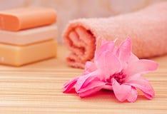 花反对桃红色肥皂温泉毛巾 库存图片