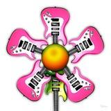 花吉他粉红色岩石 库存图片